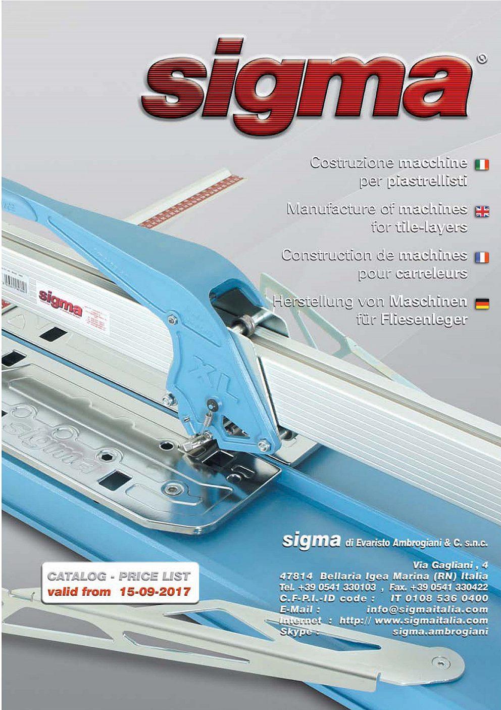 Sigma - Generálny katalóg a cenník 2014/2018